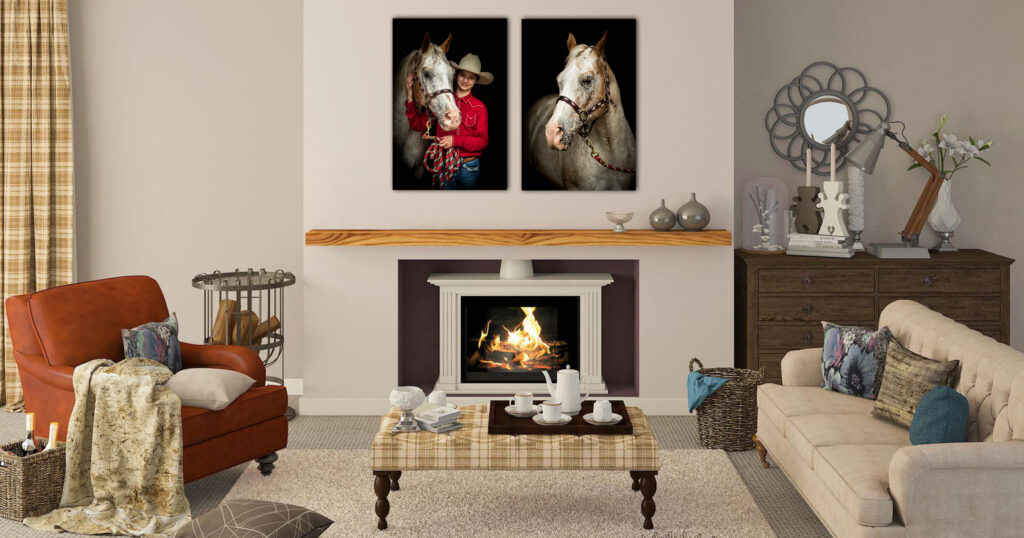 Pictures of Horse and Rider displayed on Living Room Wall of Home.